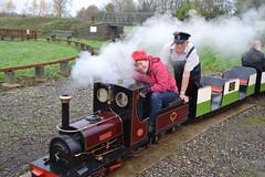 Enjoying Ladies Day.... (K.M. here now'n'again) Tags: smiling enjoying steamlocomotive ladiesday miniaturerailway 714inchgauge