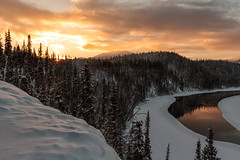 Yukon River Sunset (yukonchris) Tags: winter cloud snow canada cold ice nature beauty clouds landscape outside cloudy north yukon naturalbeauty northern genre yukonriver intothesun frozenriver redskyatnight waterreflections borealforest northof60 southernyukon deepcold yukonrivervalley canon7d snowreflections