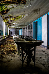 URBEX - St. Joes (karllaundon) Tags: school brick history abandoned architecture bathroom sink religion basin taps teaching seminary derelict