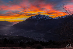 Hell's Sky (Andrea Moraschetti Photography) Tags: wood sunset red sky italy panorama cloud mountain snow mountains tree nature yellow canon landscape landscapes woods italia village view natural top ngc hell natura valley summit brescia lombardia valcamonica concarena eos600d