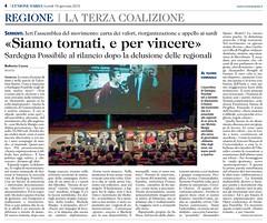 """""""SIAMO TORNATI, E PER VINCERE"""" Sardegna Possibile riparte dall'assemblea di Serrenti L'Unione Sarda - 19.01.2015, pag. 4"""