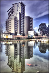 Kings Wharf (David Gilson) Tags: trees lake reflection architecture pond goldfish gibraltar iphone kingswharf