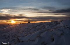 Sunset au Ballon d'Alsace (Romain Guilhot) Tags: winter light sunset mountain snow france statue montagne canon soleil lumire couleurs hiver 28mm coucher neige f71 janvier blanc vosges sommet vierge hivernal eos40d ballonalsace