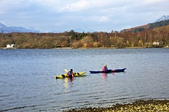 Leaning to the Right. (billmac_sco) Tags: water landscape bay scotland canoe lochlomond millarochy