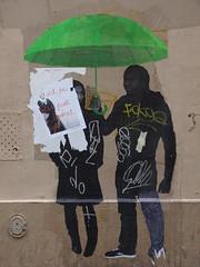 PC073520 (signaturen) Tags: dog chien streetart paris umbrella graffiti pig sticker montmartre urbanart hund murales schwein parapluie porc