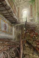 The Fallen (klickertrigger) Tags: sun castle abandoned wet stairs rust decay staircase castelo chateau