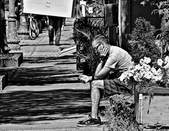 Spend time... (Jean S..) Tags: street flowers summer blackandwhite bw male day phone candid sidewalk streetphoto