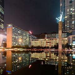 Bundaran HI at night (daniel.jiang7) Tags: reflection water pool night buildings indonesia hotel cityscape jakarta hi monumen selamat datang kempinski bundaran