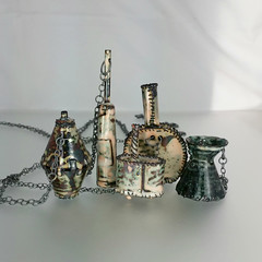 wearable small vessels (L. Sue Szabo) Tags: amphora metals vessels enamel reliquary metalsmith reliquaries etsymetal coldconnection enamelnecklaces etsymetalteam lsueszabojewelry lsueszabo enamelvessels