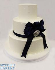 Single Dots & Satin Bow with Brooch Wedding Cake (Swedish Bakery Chicago) Tags: cakes cake weddingcake brooch bow dots buttercream weddingcakes swedishbakery fabricribbon