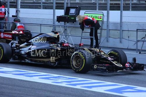Romain Grosjean in his Lotus in Formula One Winter Testing 2015