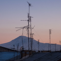 Antennas and The Greater Ararat (ghardashyan) Tags: nikon armenia coolpix yerevan antennas masis ararat  p330