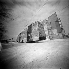 Tram (anyurtan) Tags: bw 120 film analog square tram pinhole obscura fomapan