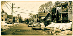 Sepia Black And White / Warren Street (Pentax K-x Connecticut Man) Tags: street morning sky blackandwhite bw usa brown white snow black classic car raw adobephotoshop pentax newengland clarity filter photograph adobe microsoft nik parked bandw 169 tiff sepiatone pef americanmade frontend 2014 pentaxkx dropshadow adobelightroom meridenct 365daysproject pentaxforum nikcolor justpentax nikplugin pentaxart adobecs4 photoshopcs6 nikcoloreffex4 windows81 topazclarityplugin lightroom57 primeiiisensor