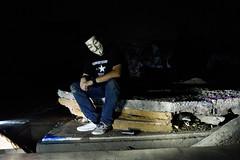 Posing (JLandau Photography) Tags: tucson arizona casagrande domes smoke mask milkyway longexpo steelwool steel wool night photography orb long exposure portrait stars