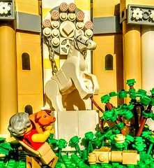 LEGO the Beast that you can be! (wesleyobryan) Tags: lego apocalego pig horse mildred mr franklin statue marble plants farm