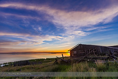 Sunset at Deadhorse Lake with Abandoned Farmstead #1 (Amazing Sky Photography) Tags: sunset lake abandoned twilight shed alberta prairie lowsun crescentmoon waxingmoon farmstead deadhorselake