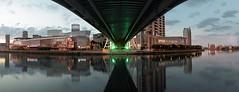 Quays Salford Bridge Under (seegarysphotos) Tags: salfordquays manchester salford mediacity lowry theaterwaterrivercloudsreflectionsbridgeunderlightsnightdusknightimecityscaoeurbanwarmmoodyatmosphereledseegarysphotosgary lewis buildings