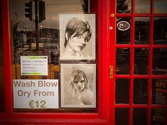 The Irish style (Clare Pickett) Tags: ireland red reflection window shop hair hairdressers blowdry