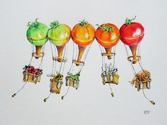 RSCN4479 (2) (pamelatittle) Tags: colored pencil balloons tomatoes summer ink ladybug snail grasshopper dragonfly honeybee flying
