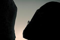 Climbing in the Buttermilks, Bishop CA (arbabi) Tags: seanarbabi 58ratedroute bishop buttermilkcountry california dianadrumm grandmapeabody inyocounty royalrobbins usa danger risk rock rockclimb rockclimber rockclimbing route silhouette sunrise
