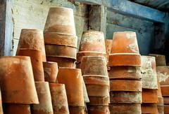 Potting shed (Bruce Poole) Tags: blue red plant terracotta yorkshire azure bleu pot clay blau claypots gardenshed pottingshed rhs flowerpots plantpots terracottapots gardenworkshop gardenersshed stackedpots brucepoole