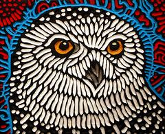 snowy (Lisa Brawn) Tags: calgary art birds illustration painting design graphics wildlife carving popart alberta owls woodcut woodcarving woodblock reclaimed salvaged wildbirds lisabrawn