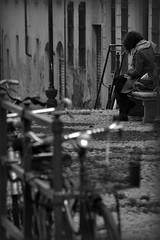 ~ Alone ~ (matteo.peca) Tags: street portrait people bw italy woman girl bike book nikon study nikkor turin 55300 d3100