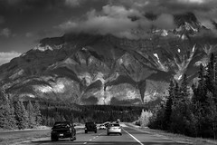 Mountains (JoLoLog) Tags: blackandwhite bw canada mountains clouds highway1 alberta rockymountains raya banffnationalpark lorien canadianrockies cascademountain bowrivervalley canon6d