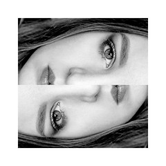 Mirrors (vickie bradley.) Tags: blackandwhite selfportrait beauty face eyes portraiture weeks 52 dyptych
