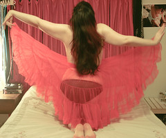 365 Day 27 Outtake #1 (bohemea) Tags: red selfportrait panties self bed bedroom outtakes longhair lingerie pale topless barefeet 365 brunette day27 crinoline photochallenge 2015 boabeille