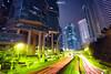 Green Space (Andy Brandl (PhotonMix)) Tags: china street longexposure urban lines architecture modern night hongkong nikon cityscape processing lighttrails futuristic lippocentre lanes d800 elevatedpov