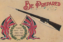 """WW1 patriotic postcard - """"This war is very serious, God only knows where it will end"""" (Aussie~mobs) Tags: england flag postcard rifle australia patriotic soldiers ww1 unionjack anzac"""