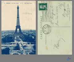 PARIS - La Tour Eiffel A.P. The Eiffel Tower (bDom) Tags: paris 1900 oldpostcard cartepostale bdom