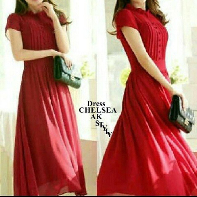 Dress chelsea Idr 95rb Bahan ceruti full furing