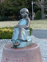 A girl with red shoes on statue (kzmiz) Tags: park red girl statue japan bay shoes chinatown yokohama koen kanagawa yamashita leicavlux4