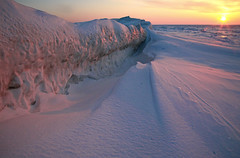Grand Bend Sunset (peterkelly) Tags: winter sunset sun snow ontario canada ice digital evening frozen glow dusk snowdrift greatlakes ridge northamerica lakehuron drift grandbend mainbeach