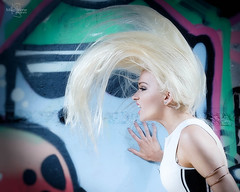Oh Yeah! (Mike Stone Photography) Tags: wedding portrait beauty hair graffiti action photojournalism bighair flick preparations platinumblond fujifilmxt1 fujixf56mmf12