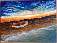 The boat (nesrin.) Tags: ocean blue sunset sea sky orange cloud sun art beach water ferry skyline night painting dawn boat sand acrylic glow wave down canvas watercraft dazzling