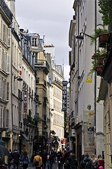 Rue Saint-Andr des Arts (AntyDiluvian) Tags: street trip paris france shop restaurant store winding narrow 2015 ruesaintandredesarts