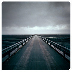 We Call it Space Bridge (jimmysnowman) Tags: mamiya 6 bridge vanishing point black desert 6x6 square 75mm portra 800