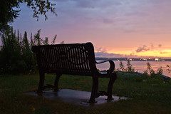 last light (local paparazzi (isthmusportrait.com)) Tags: canon5dmarkii 50mmf14usm usm ef eos lopaps pod 2016 iso100 redskyrocketman localpaparazzi prime aperture slowshutterspeed rain sunset burrowspark lake lakemendota bench lonely empty surreal colorful melting melted pink yellow blue