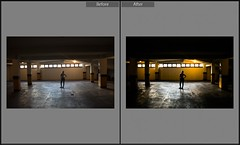 Before/After (Garagem) (pottereitions) Tags: girl garage building ruins color lightroom befor before after edition editing lighting common rare
