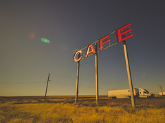 the sundowners (Jo-H) Tags: cafe diner rural americanwest ritzville washington truck wheat summer warm americana roadtrip sign retro sunset wideangle lensflare