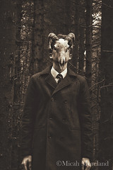 Son of Man (micahmoreland) Tags: abandoned film monochrome strange mystery sepia painting movie skull costume scary funny mood moody sheep surrealism dream surreal cheeky creepy mysterious horror isolation tribute nightmare disturbing derelict atmopsheric horrorsurrealism horndemonic