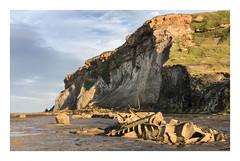Evening light on the Von Tromp. (47mki) Tags: cliffs shipwreck whitby saltwickbay yorkshirecoast vontromp
