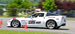 Braking...HARD (R.A. Killmer) Tags: white car race nose slow cone low fast competition slide down tires brake autocross corvette racer horsepower skill grandsport cumberlandairportautocross