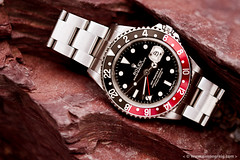 Red Rock (Simon Greig Photo) Tags: red black rock mechanical swiss watch timepiece rolex gmt 16710 gmtmasterii
