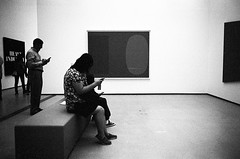 Texters (bhop) Tags: los angeles california broad art museum bw blackandwhite black white film trix 400tx kodak iso400 leica m6 rangefinder filmcamera monochrome phone text