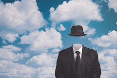 A Riff on Magritte's The Pilgrim (ScottNorrisPhoto) Tags: renemagritte blacksuit portrait fedora blackhat blankface bluesky clouds surrealist minimal minimalist selfportrait homage riff blacktie surreal fun invisible formalattire man 365project explore photooftheday photoaday photography fineartphotograpy scottnorrisphotography milwaukee wisconsin usa